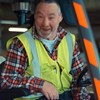Kevin in Forklift - close